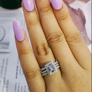 .925 Sterling Silver 5 Carat CZ Diamonds Ring Set